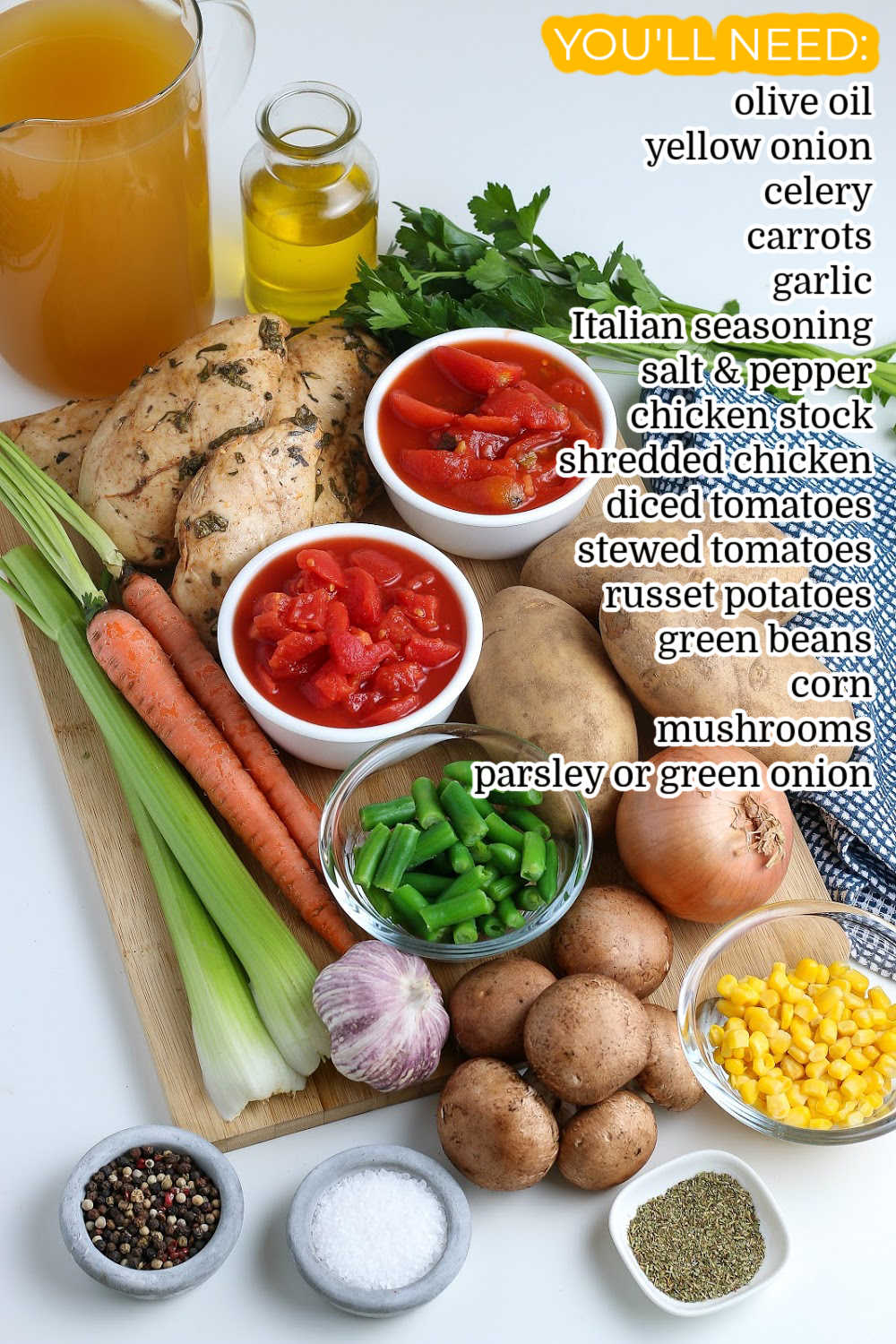 All of the ingredients needed to make this Chicken Vegetable Soup recipe.