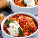 Lasagna Soup in white bowls.