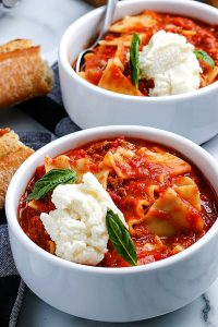 Lasagna Soup in white bowls.