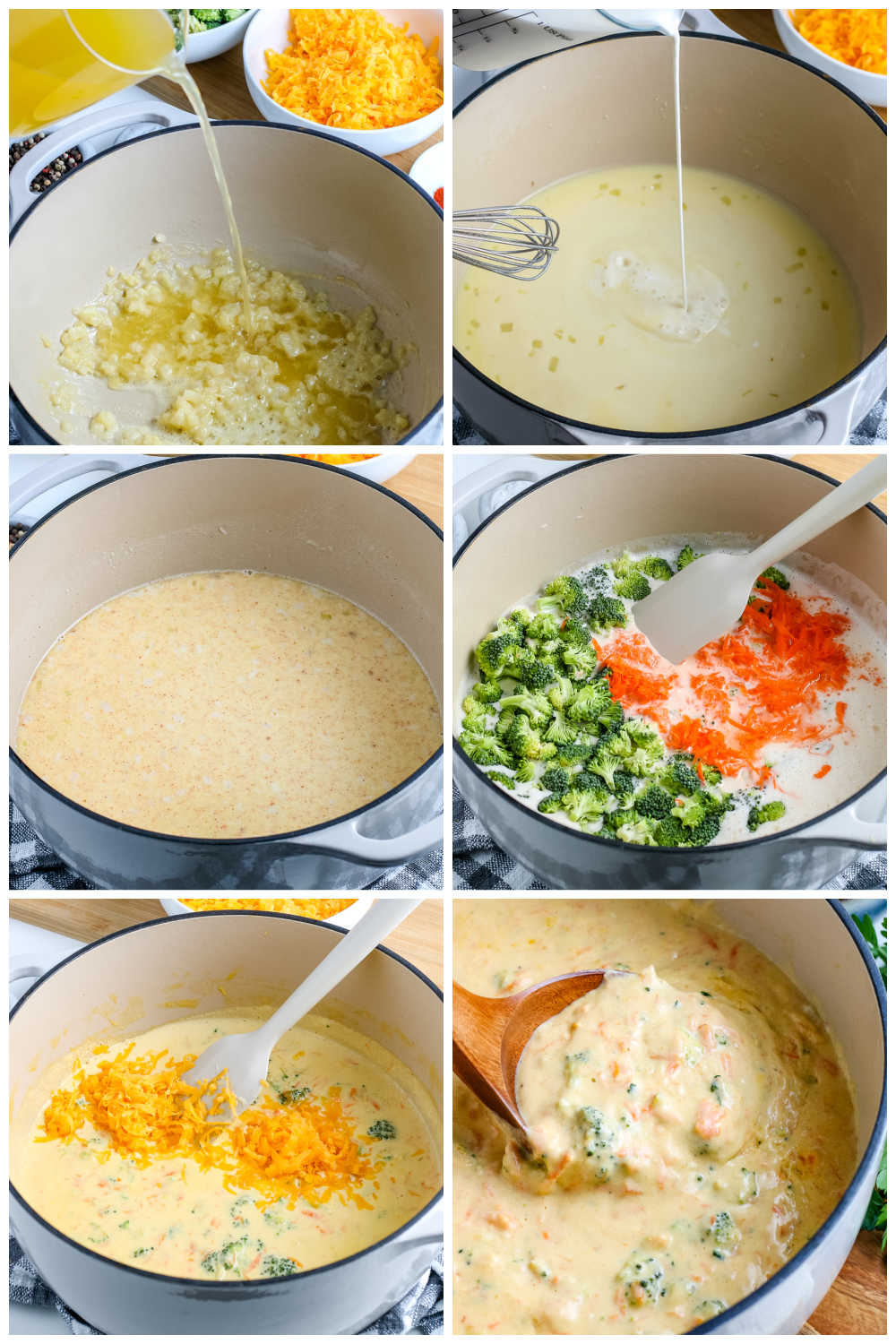 A picture collage of how to make this Broccoli Cheddar Soup recipe.