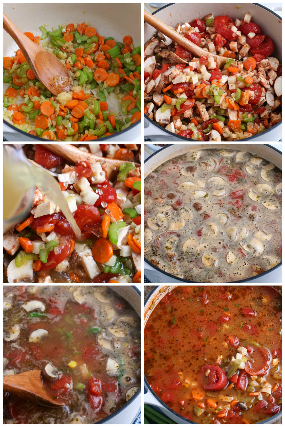 A picture collage of how to make Chicken Vegetable Soup.