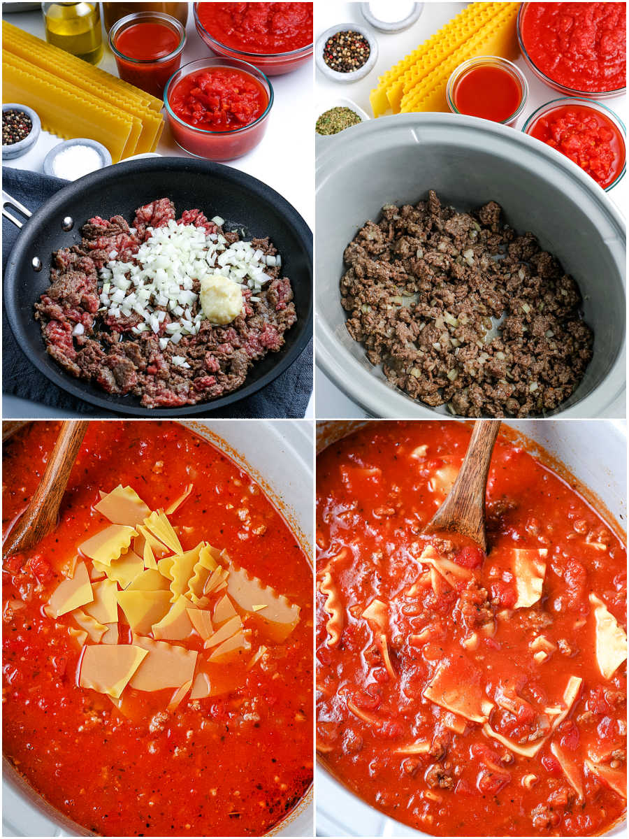 A picture collage of how to make Crockpot Lasagna Soup.