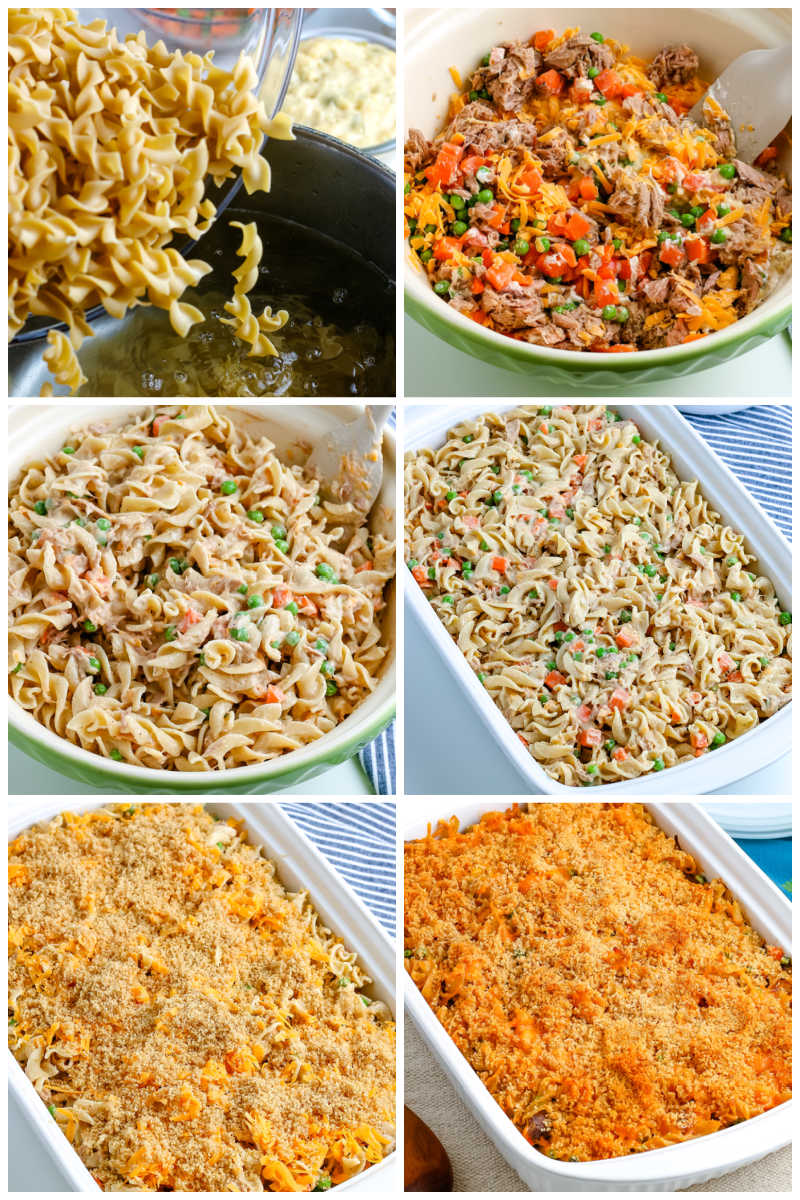 A picture collage of how to make this Tuna Noodle Casserole recipe.