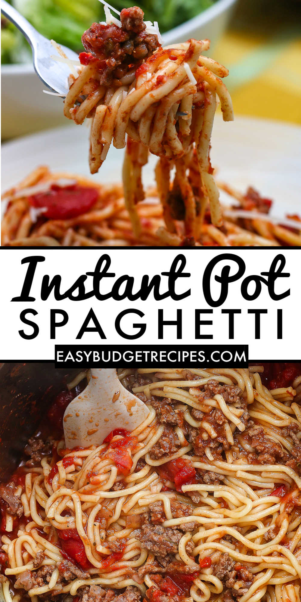 Our Instant Pot Spaghetti recipe is our easiest spaghetti recipe ever! It's a quick recipe for spaghetti and meat sauce made right in the instant pot! via @easybudgetrecipes