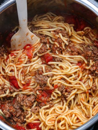 The finished Instant Pot Spaghetti in the Instant Pot.