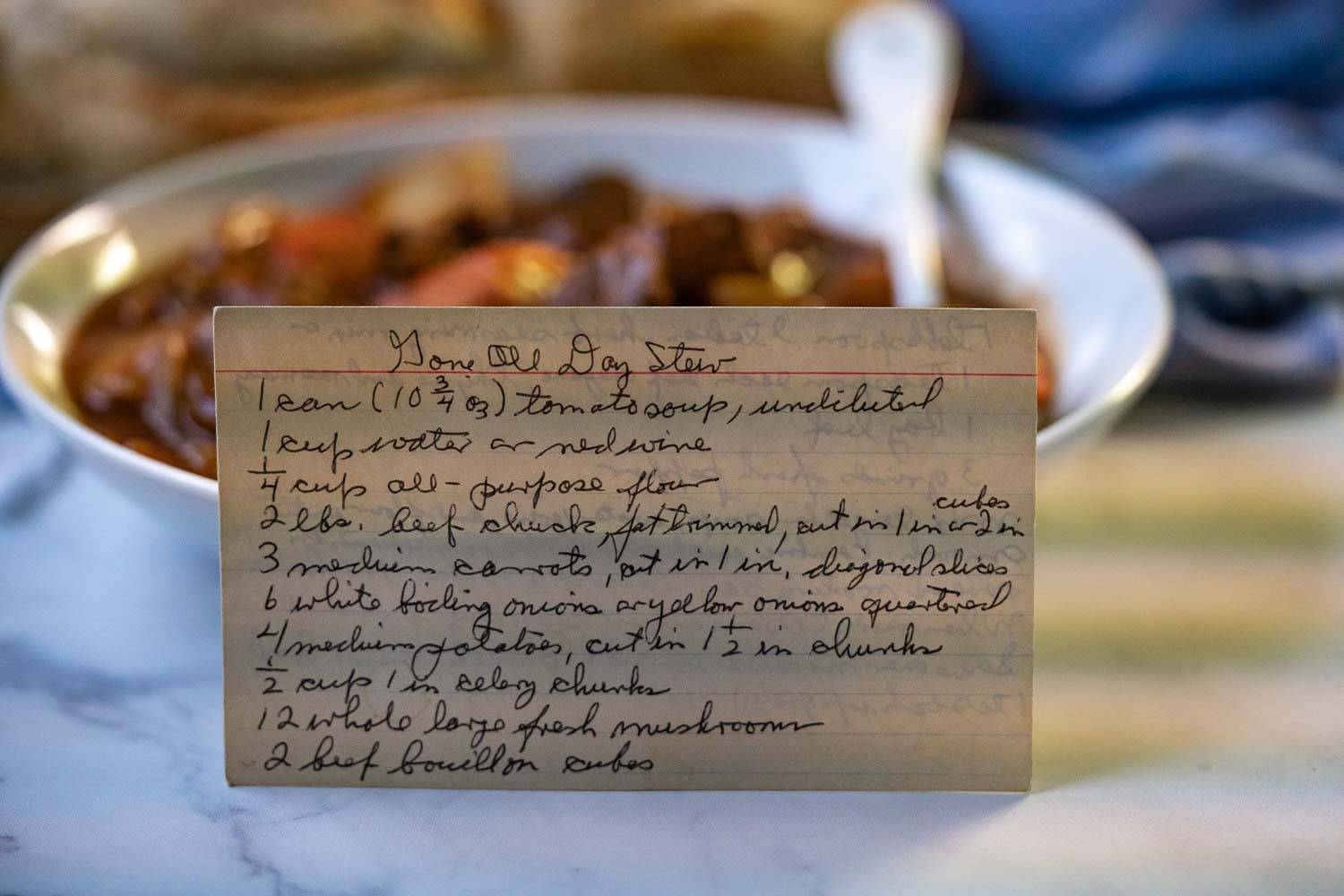 A picture of Papa's recipe card of Gone All Day Stew written in his hand writing.