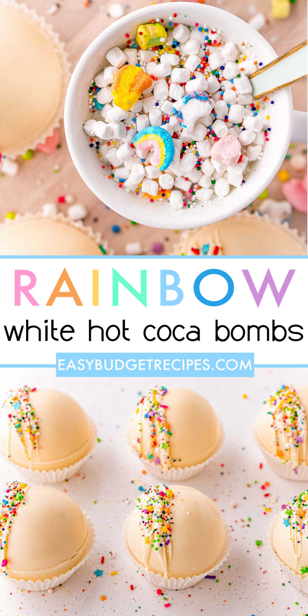 These delicious Rainbow White Hot Chocolate Bombs are made with white chocolate and white hot chocolate mix and Lucky Charms marshmallows. They're great for St. Patty's Day, Easter, Spring, and other events! via @easybudgetrecipes
