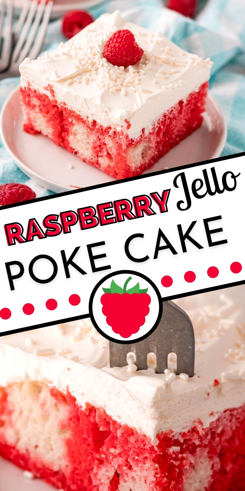 This retro Raspberry Jello Poke Cake is a potluck favorite. It's made with raspberry Jello, but you can use any flavor. via @easybudgetrecipes