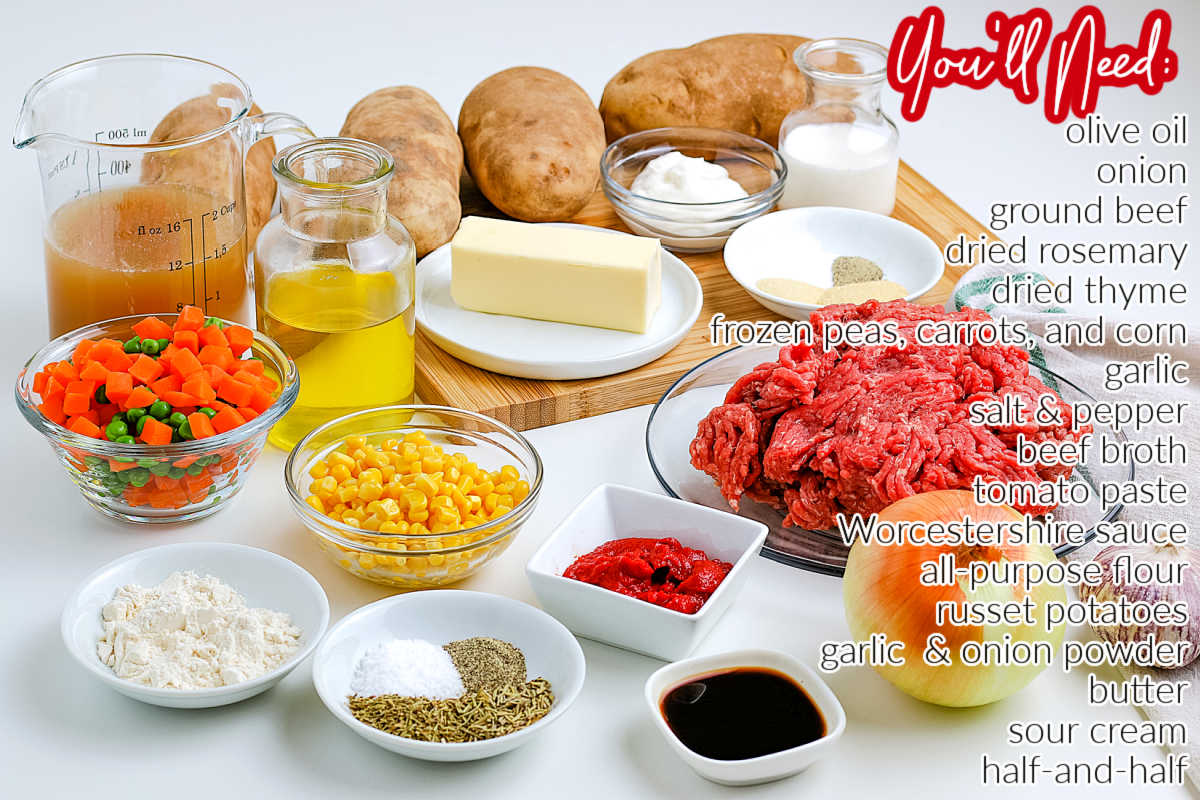 All of the ingredients needed to make Shepherd's Pie.