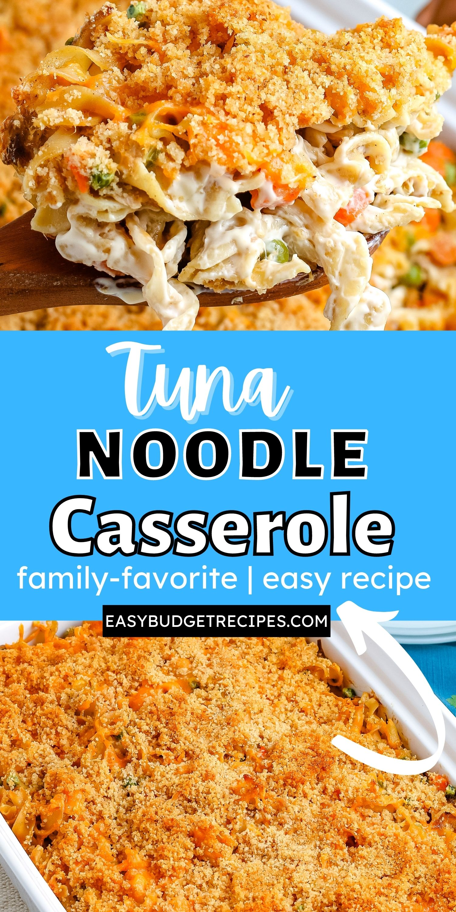 Tuna Noodle Casserole is a comfort food casserole that is creamy, delicious, and easy to make. It's topped with buttery breadcrumb and shredded cheese. via @easybudgetrecipes