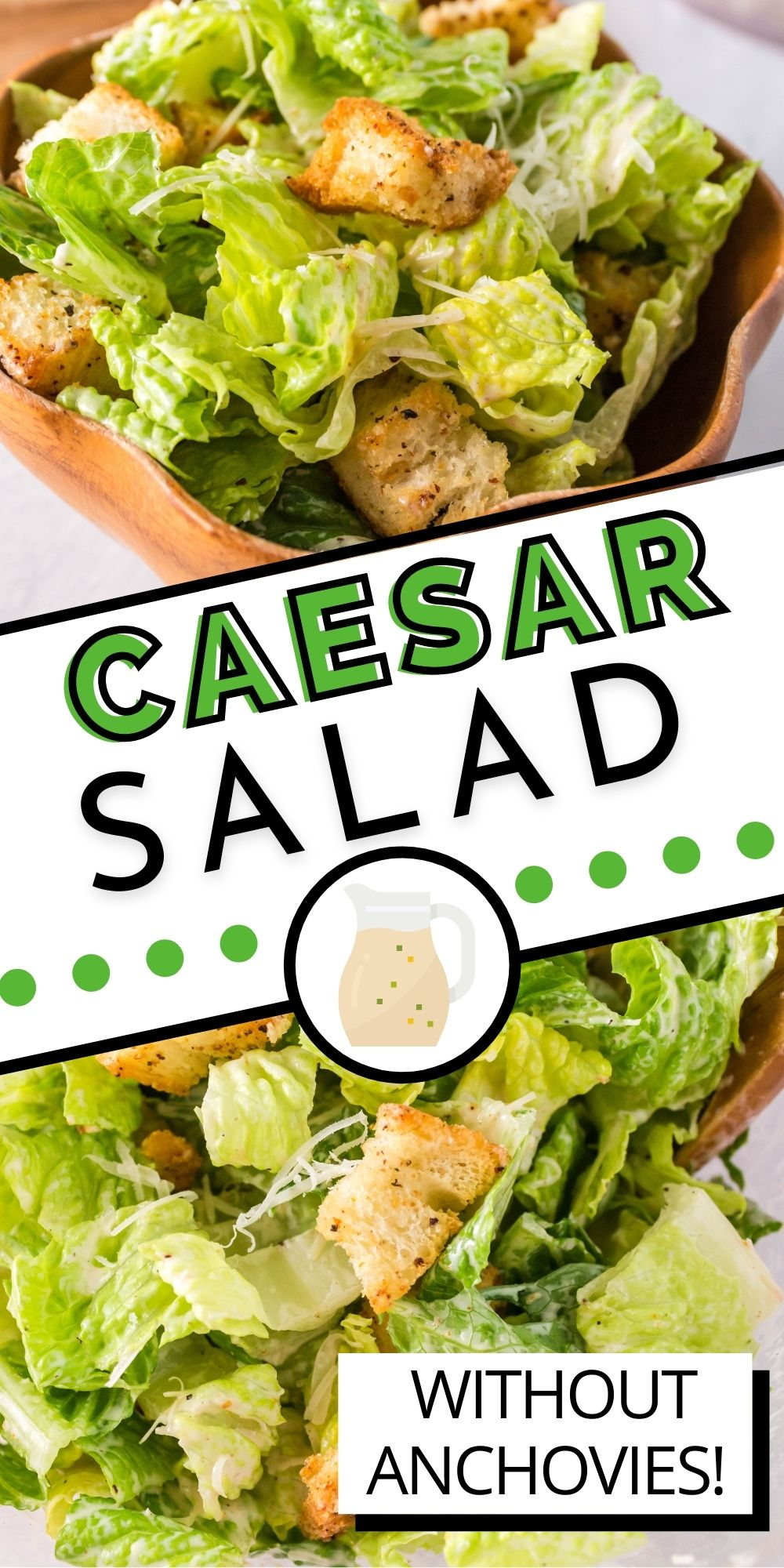 This Homemade Caesar Salad recipe is made with homemade croutons, Romaine lettuce, Parmesan cheese, and creamy Caesar salad dressing that's made without anchovies.  via @easybudgetrecipes