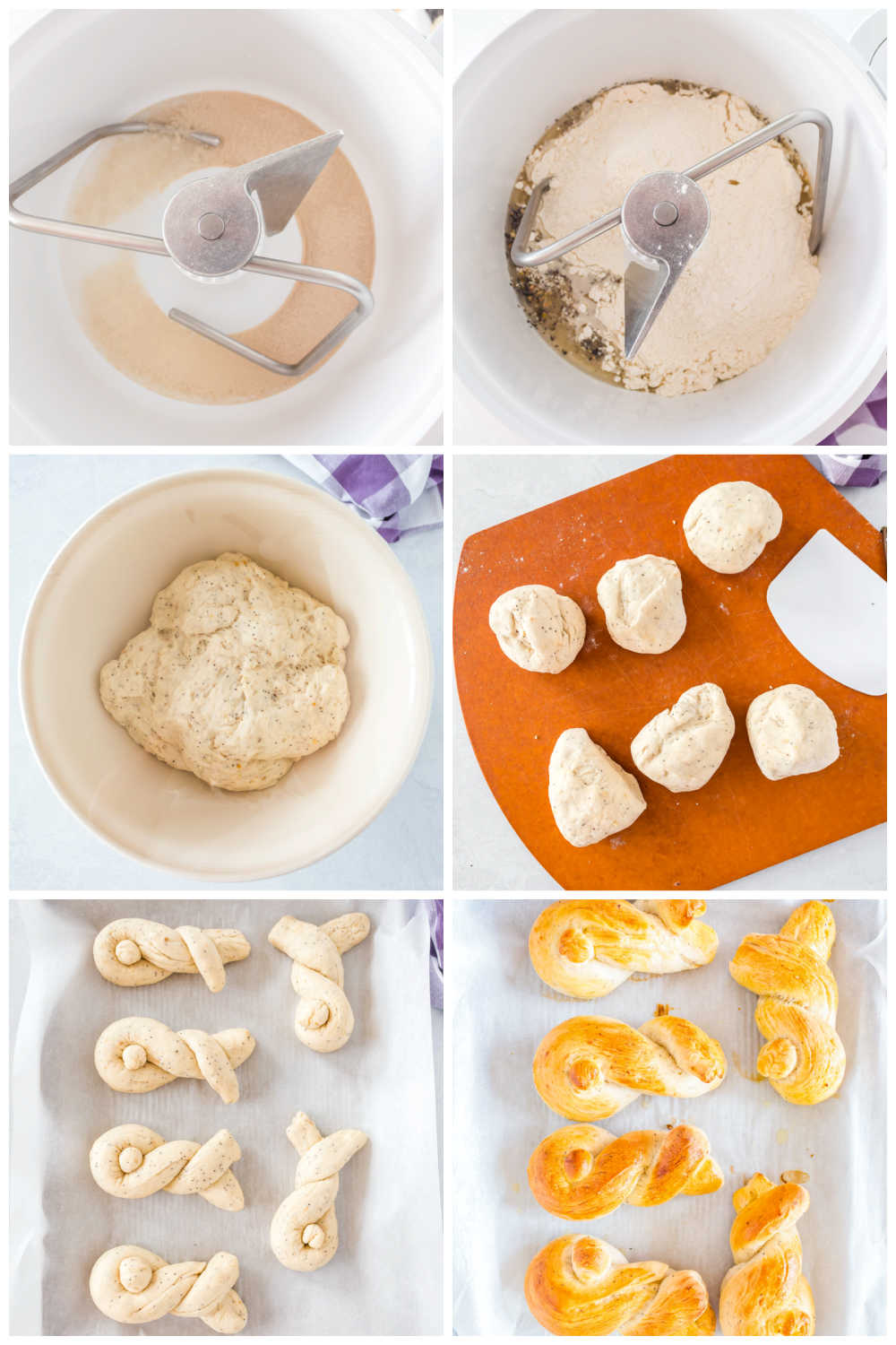 A picture collage of how to make Easter Bunny Buns.