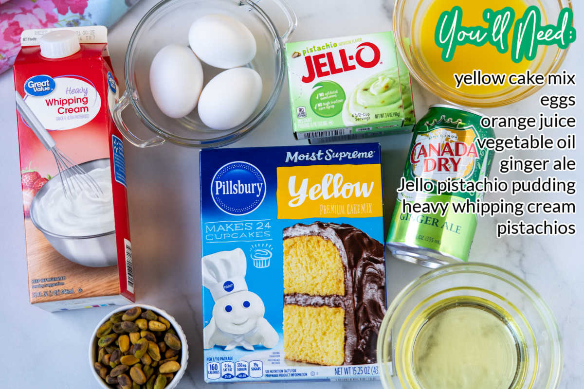 An overhead picture of all of the Pistachio Pudding Cake recipe ingredients.