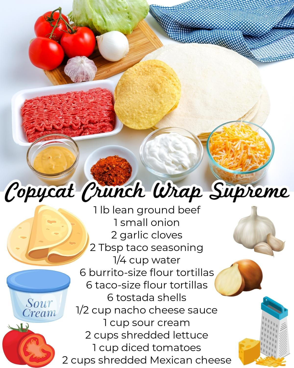 All of the ingredients needed to make this Copycat Taco Bell Crunchwrap Supreme recipe.