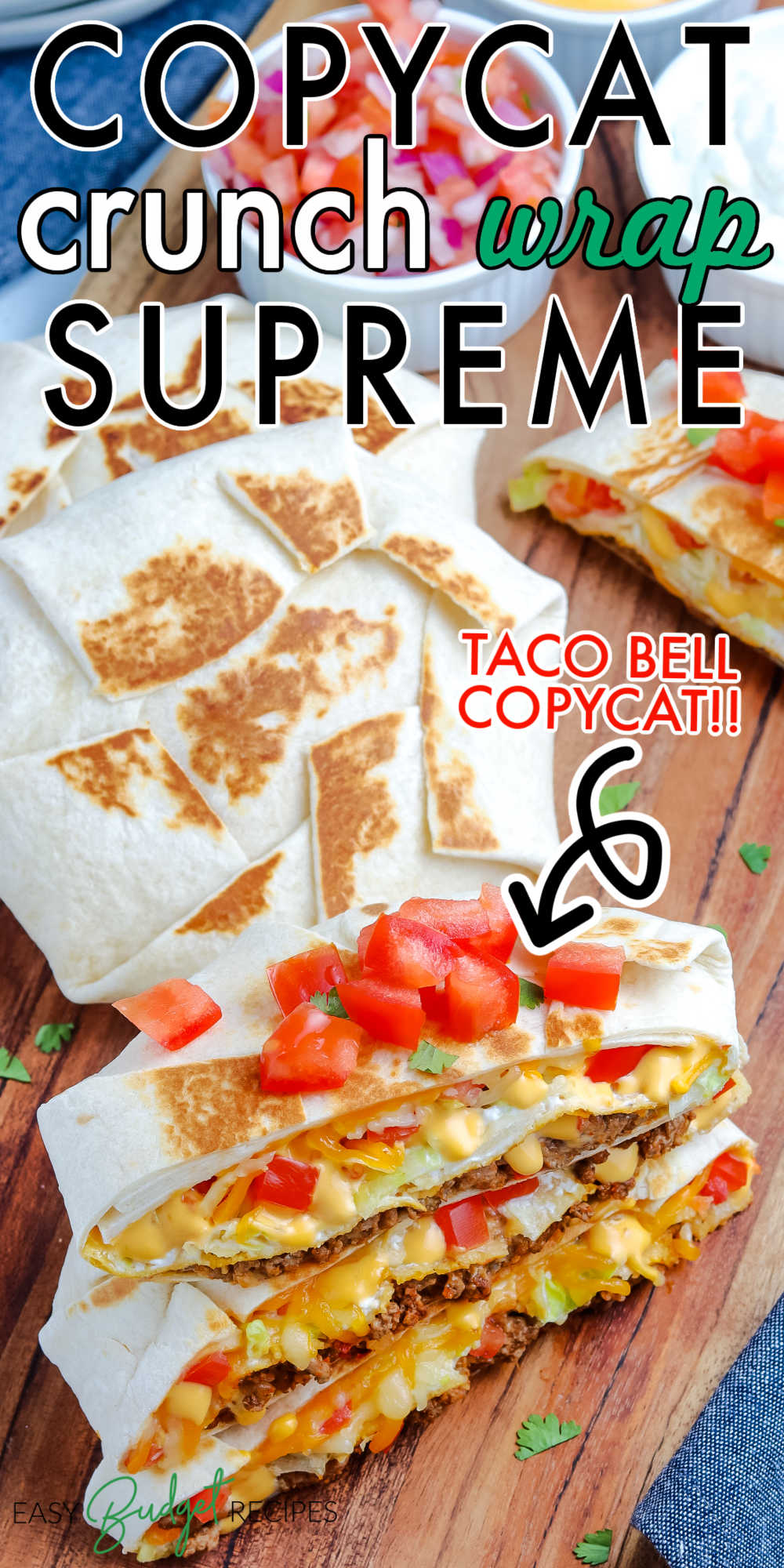 This Copycat Taco Bell Crunchwrap Supreme recipe is easy, delicious, and so much better than the original! Each is filled with taco meat, nacho cheese, sour cream, lettuce, tomatoes, shredded cheese, and a tostada to give its signature crunch!  via @easybudgetrecipes