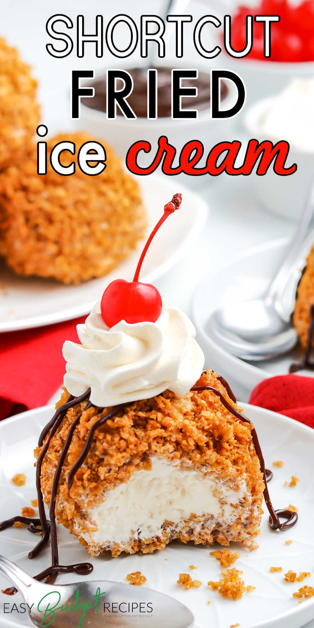 This Shortcut Fried Ice Cream recipe is an easy dessert that's an impressive way to end any meal. Grab the kids, because they'll love making this recipe! via @easybudgetrecipes