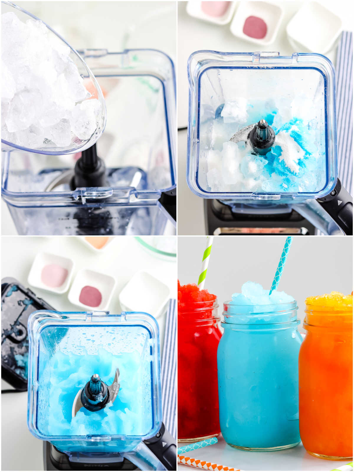 A picture collage of how to make Copycat Sonic Slushes.