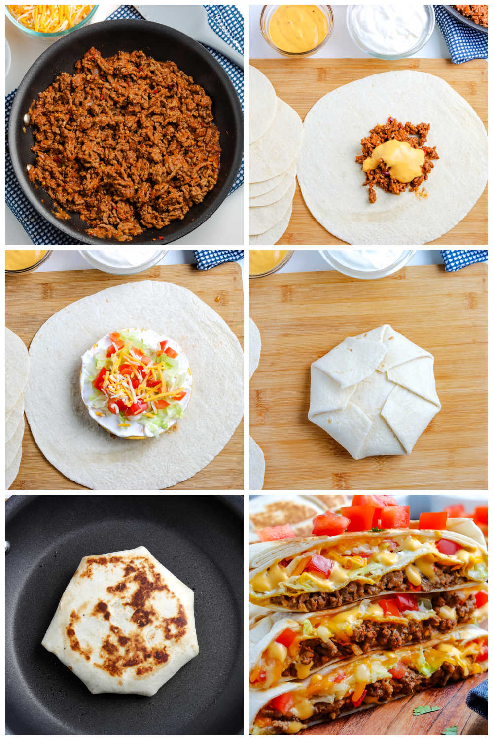 A picture collage of how to make Taco Bell Crunchwrap.