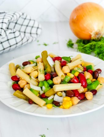5 Bean Salad on a white plate.
